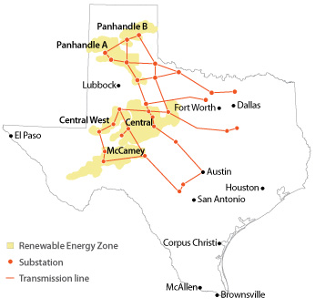 map of transmission lines built under CREZ