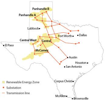 map of transmission lines built under CREZ