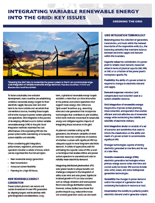 Integrating Variable Renewable Energy Into the Grid: Key Issues