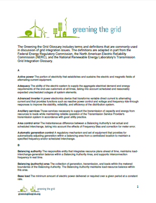 Greening the Grid Glossary