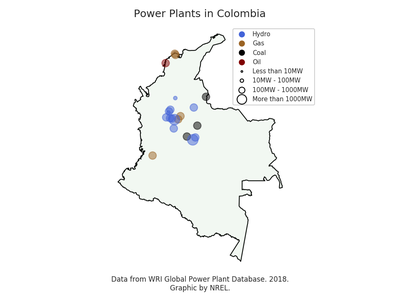 Colombia power plant map