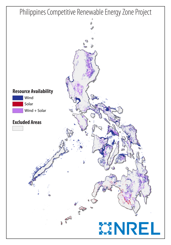 A map of wind and solar resource availability for the Philippines CREZ study