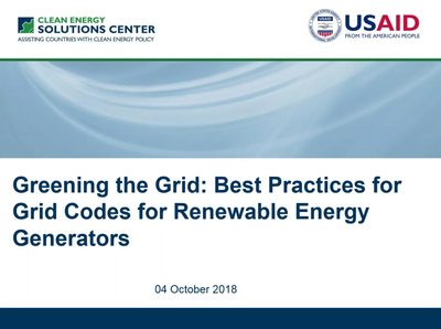 Best Practices for Grid Codes for Renewable Energy Generators