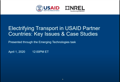 Electrifying Transport in USAID Partner Countries: Key Issues and Case Studies